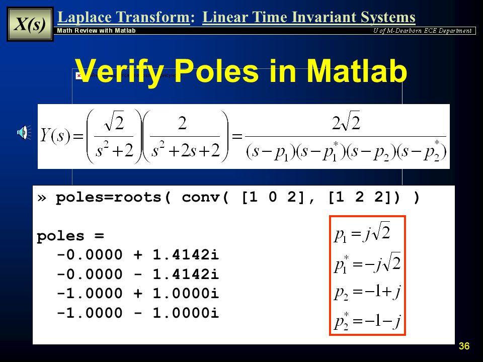 Verify Poles in Matlab » poles=roots( conv( [1 0 2], [1 2 2]) )